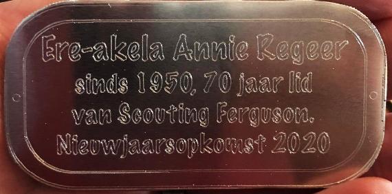 Annie Regeer 70 jaar lid!